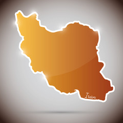 vintage sticker in form of Iran