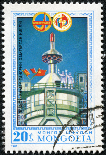 stamp printed in Mongolia shows Start of spaceship