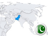 Pakistan on map of Asia