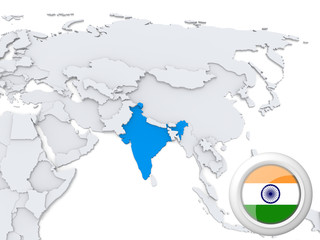 India on map of Asia