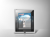 illustration of tablet pc with news app