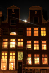 Moonrise over Amsterdam Houses