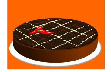torta ai 3 cioccolati con guarnizione al peperoncino