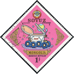 stamp printed by Mongolia shows Soyuz Lunakhod 1