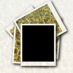 blank photo frame and sea waves background