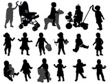toddler silhouettes collection - vector