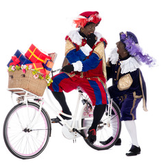 Zwarte Piet on a bike with presents