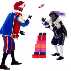 Zwarte Piet is throwing with the presents
