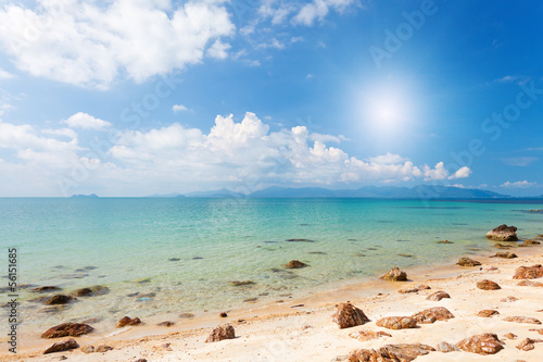 beach with stones and sea