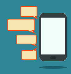 smartphone with speech bubbles vector