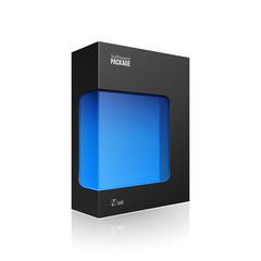 Black Modern Software Product Package Box With Blue Window