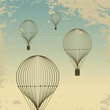 Retro hot air balloon sky background old paper texture. Vintage - 56152832