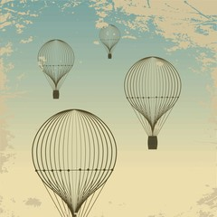 Retro hot air balloon sky background old paper texture. Vintage © pgmart