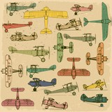 Airplanes. Retro seamless pattern   on vintage old paper.