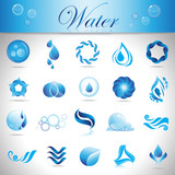 Water And Drop Icons - Set - Isolated On Gray Background