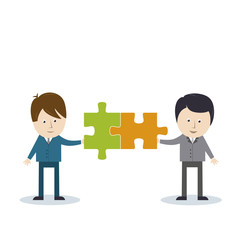 Geschäftsleute mit Puzzle-Teilchen - Business Netzwerk
