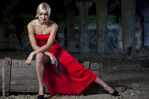 Sexy Spy in red dress