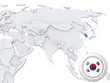 South Korea on map of Asia