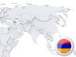 Armenia on map of Asia