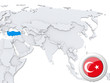 Turkey on map of Asia