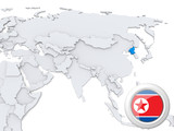 North Korea on map of Asia