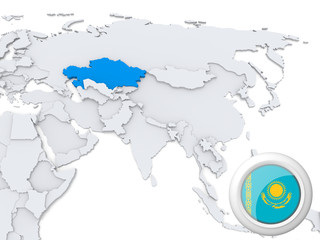Kazakhstan on map of Asia