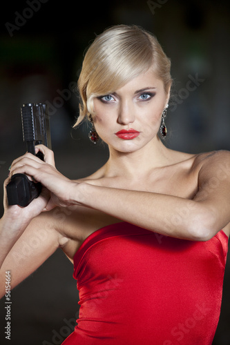 Retro Woman holding gun
