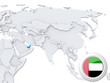 United Arab Emirates on map of Asia
