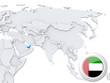 United Arab Emirates on map of Asia
