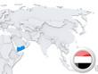 Yemen on map of Asia