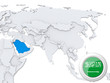 Saudi Arabia on map of Asia