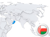 Oman on map of Asia