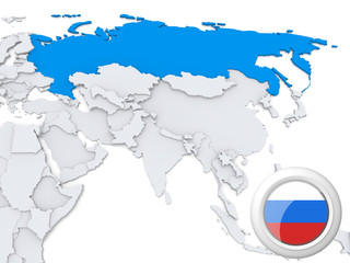Russia on map of Asia