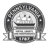 Grunge stamp or label with name of Pennsylvania, vector