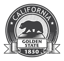Grunge stamp or label with name of California, vector