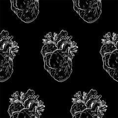 Human heart seamless pattern
