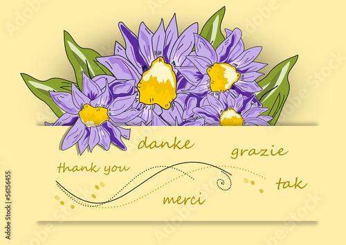 Grusskarte Danke mit  Blume