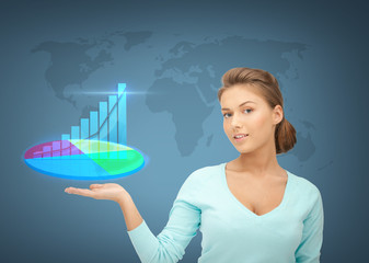 businesswoman with virtual charts and graphs