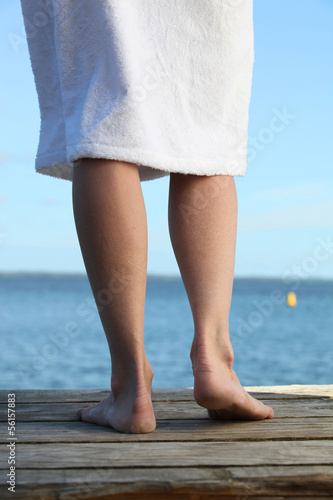 By the sea in bath robes