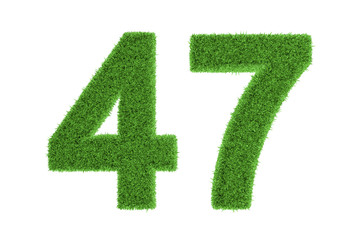 Number 47 with a green grass texture