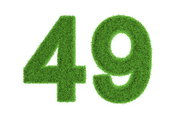 Number 49 with a green grass texture