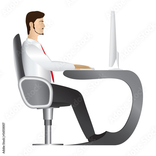 Man working at computer. Vector. Isolated.