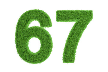 Green eco-friendly symbol of number 67, on white