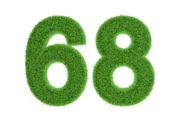 Green eco-friendly symbol of number 68, on white