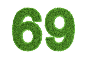 Green eco-friendly symbol of number 69, on white