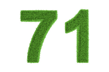 Green eco-friendly symbol of number 71, on white