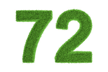 Number 72 with a green grass texture