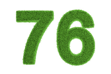 Number 76 with a green grass texture