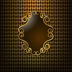 Beautiful gold frame on the background curtain