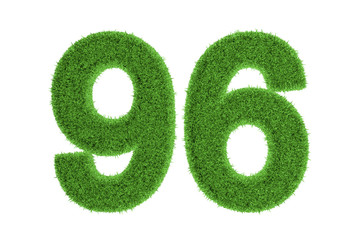 Number 96 with a green grass texture